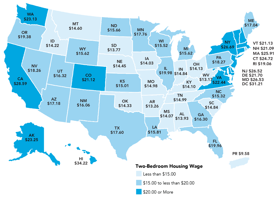 3 Maps That Show The Hourly Wage Needed To Rent a 2 Bedroom