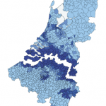 Concentration of Belgians in the Netherlands and Dutchmen in Belgium per municipality