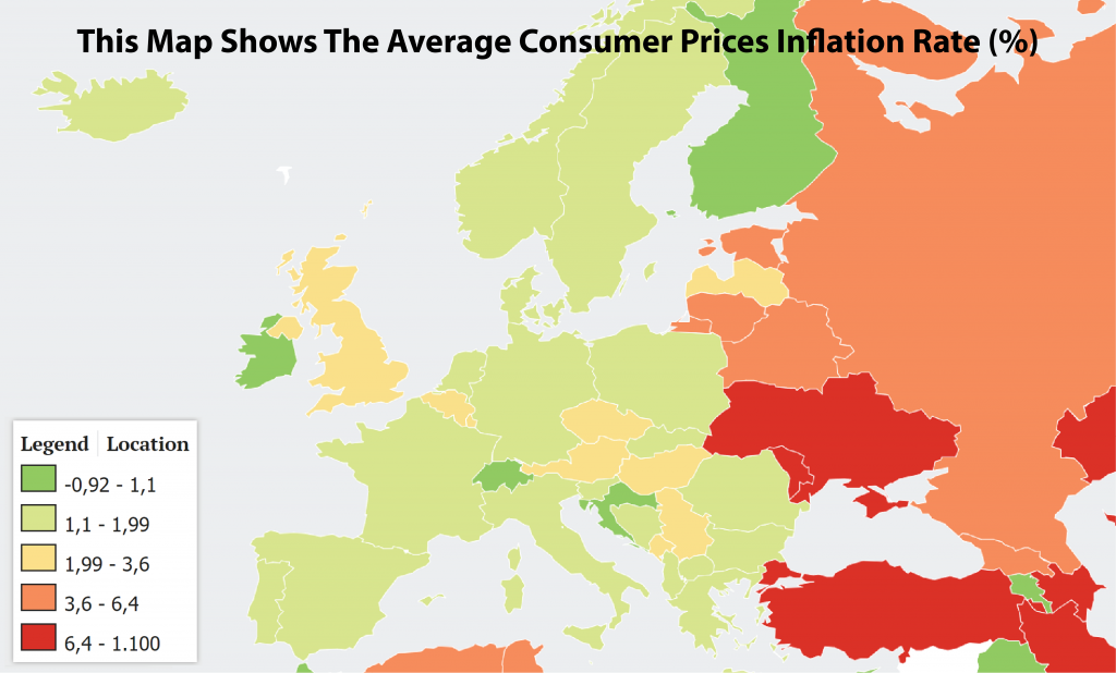 This Map Shows The Average Consumer Prices Inflation Rate In Europe 4000