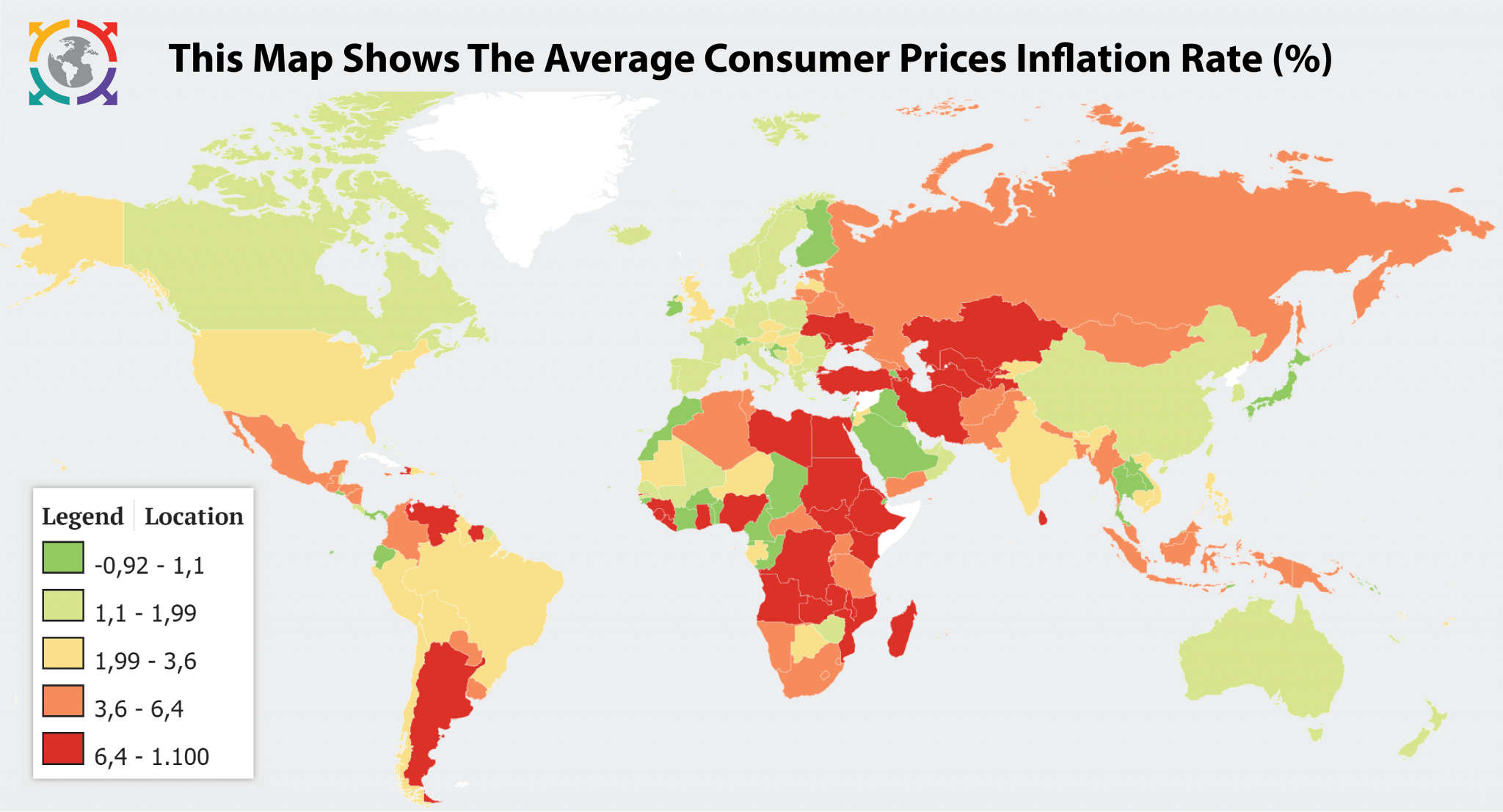 This Map Shows The Average Consumer Prices Inflation Rate World 4000