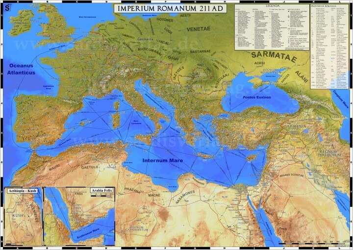 Very detailed map of the Roman Empire in 211AD