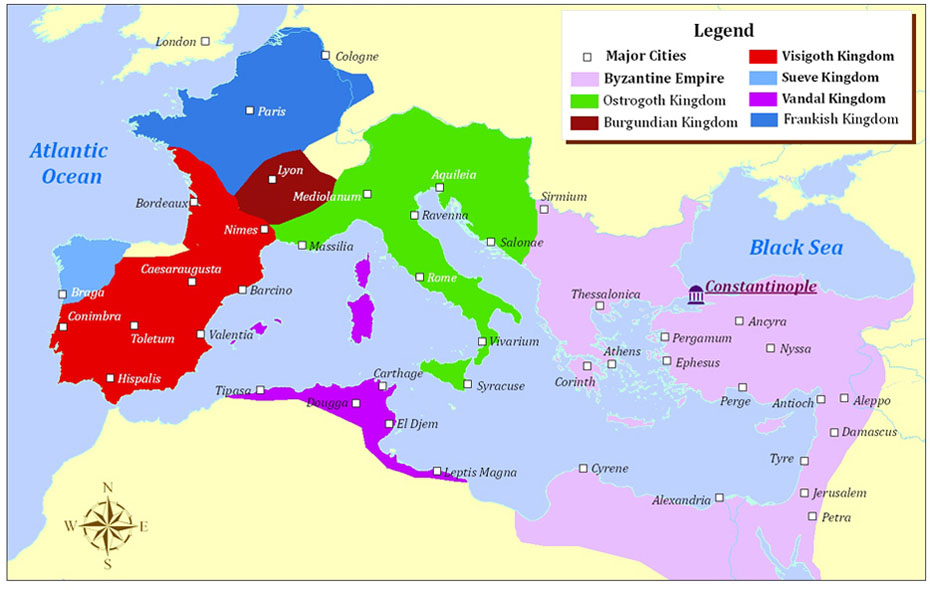 This map shows the fallen Western Roman Empire AD500 Germanic Kingdoms