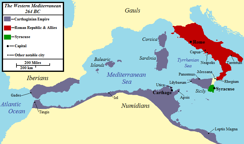 This map shows the western mediterranean in 264 BC
