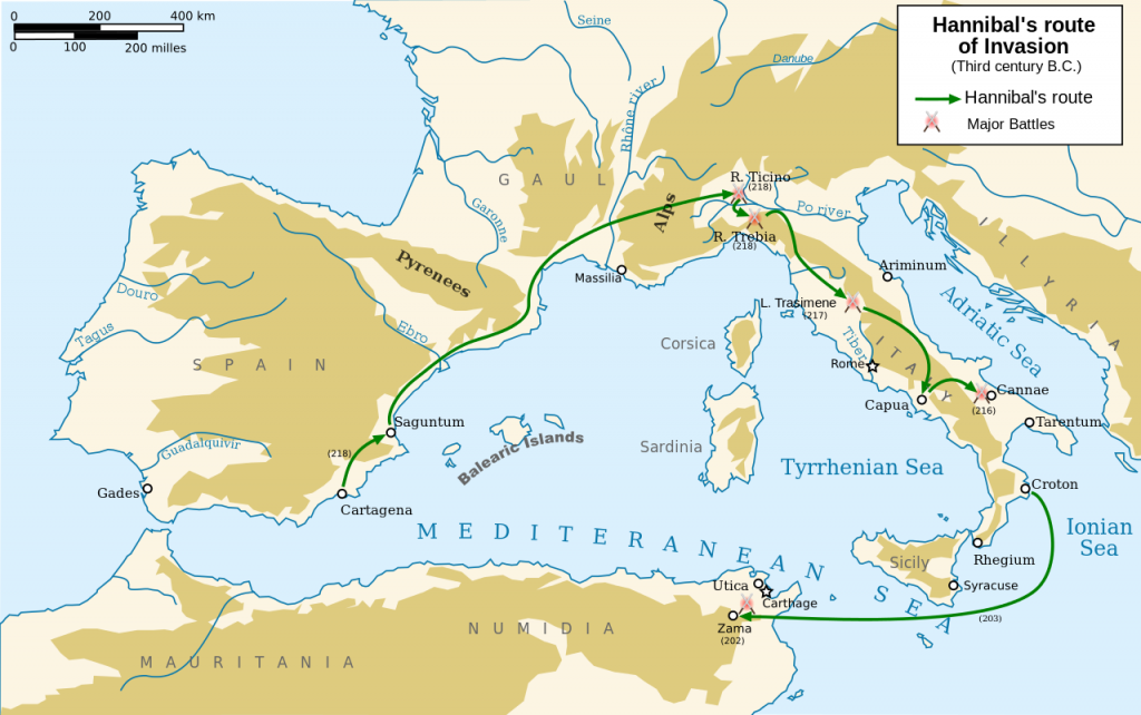 This map shows Hannibal war against roman empire. Hannibal's route of invasion