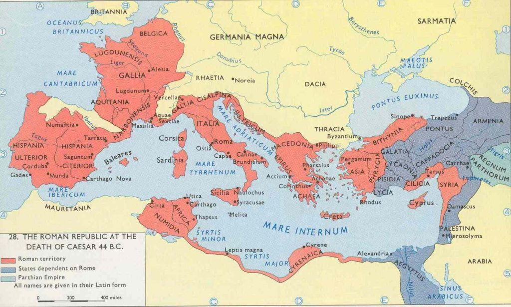 this map shows the roman republic at ceasar death 44bc