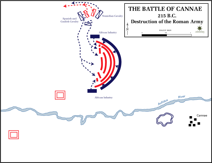 This map shows the battle of Cannae (215B.C.) - Destruction of the Roman Army