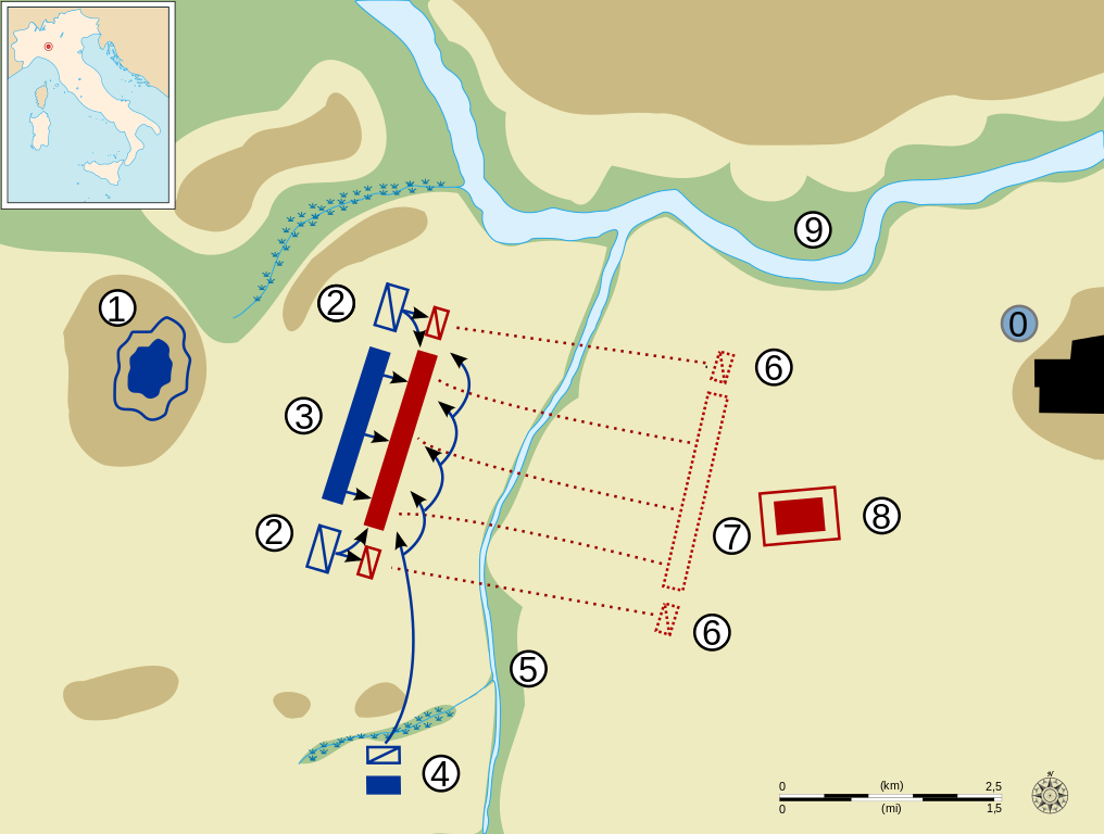 This map shows the battle of Trebia, 218 B.C., second Punic War, between Carthaginians and Romans