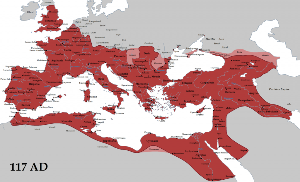 map roman empire at its heights - greatest extent