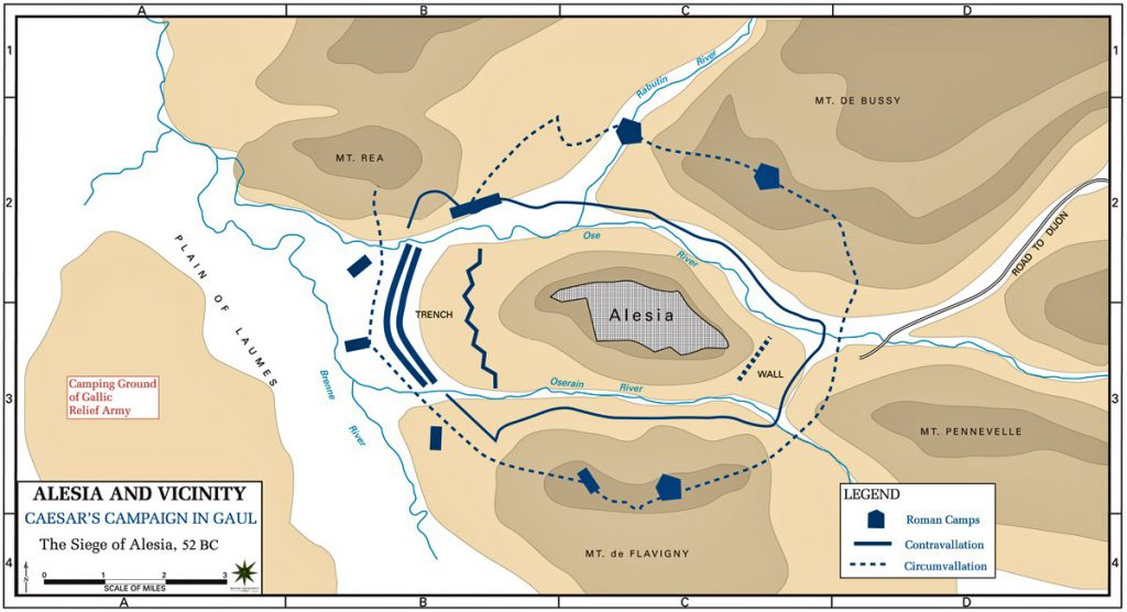 Map of the Battle of Alesia (52BC) - Julius Caesar's conquest of Gaul