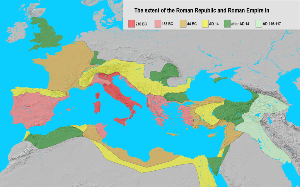 this map shows the extent of the Roman Republic from 218BC to AD117