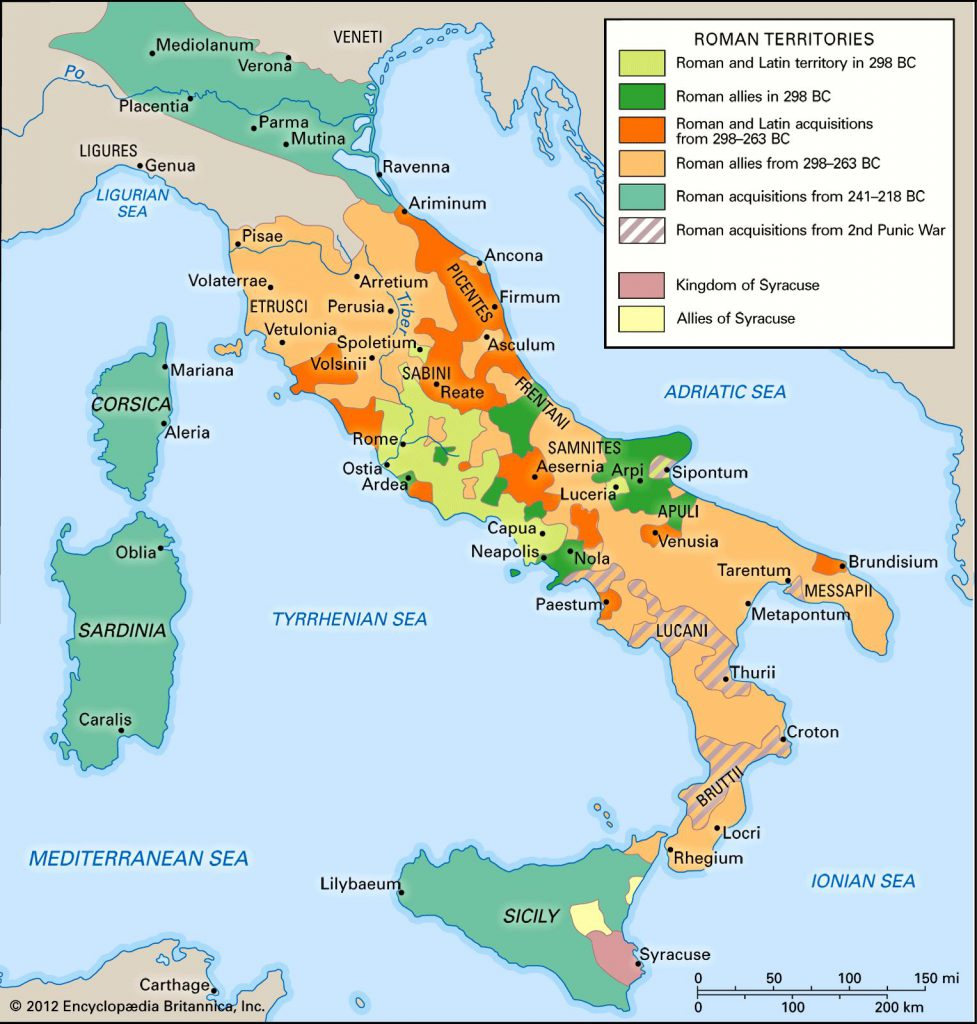 This map shows the very beginning of the roman empire