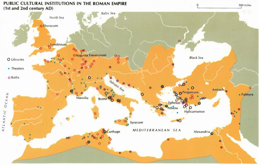 This map shows all Libraries, theaters, baths in roman empire