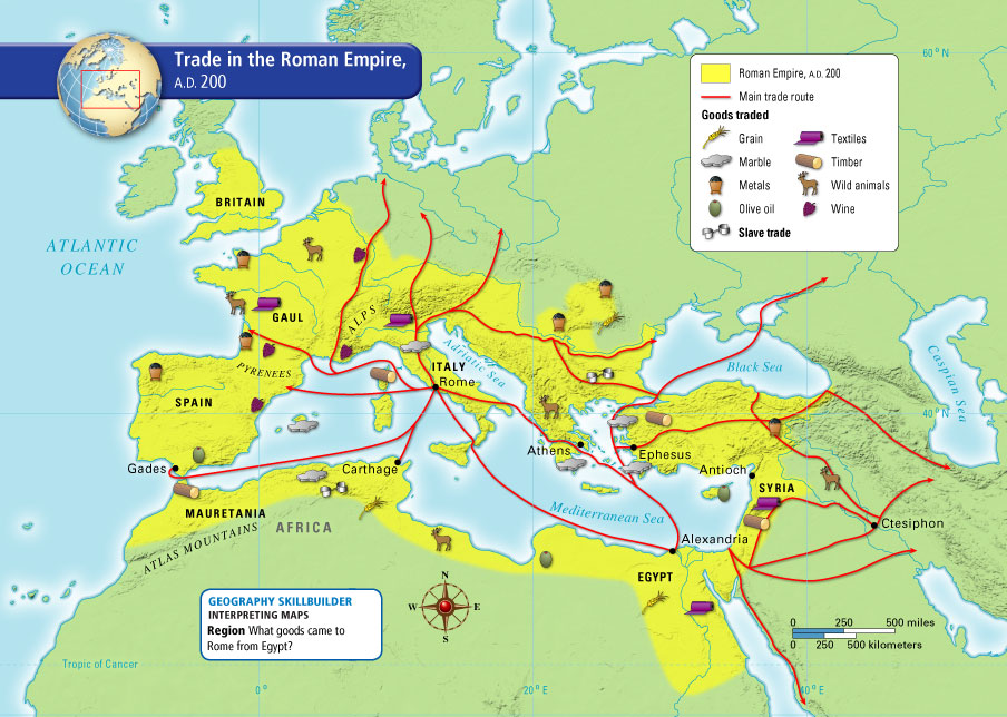 This map shows the Roman Empire's main trade route and goods traded