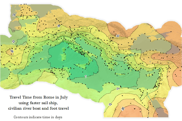 This map shows travel time from rome in July using faster sail ship, civilian river boat or foot travel