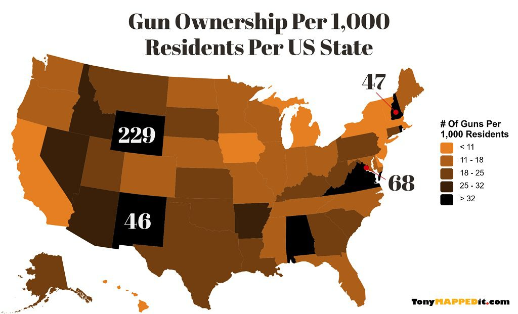 This Map Shows The Gun Ownership Per 1000 Residents By US State