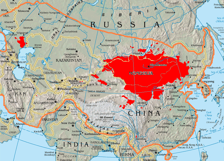 Map of Mongol Empire vs Mongolia today