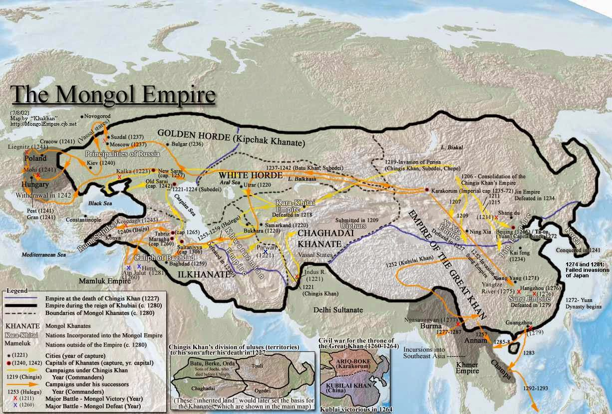 detailed map of mongol empire