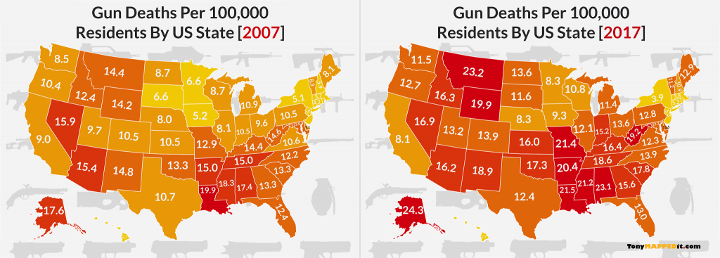 this map shows a comparison of gun deaths per 100000 residents in america by us state in 2017 vs 2007