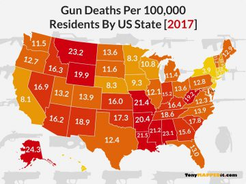 this map shows the number of gun deaths per 100000 residents in america by us state