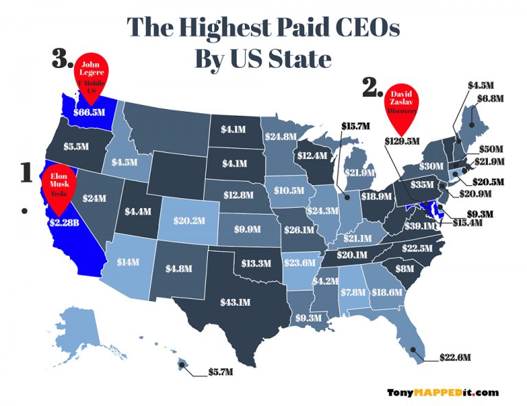 This Map Shows The Top Paid CEOs By US State For 2018 - Tony Mapped It