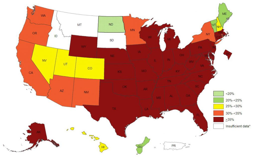 This map shows the pecentage of obese non-hispanic black aldults in the united states by us state