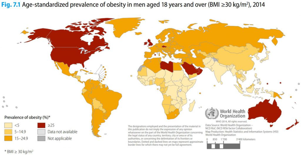 This Map Show Obesity Rates Worldwide Among 18+ Male