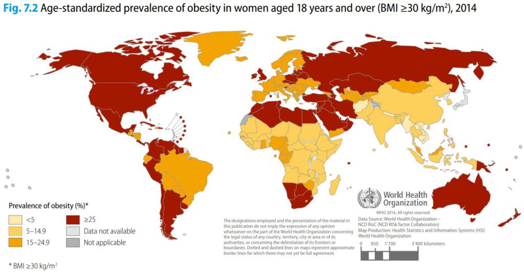 This Map Show Obesity Rates Worldwide Among 18+ Female