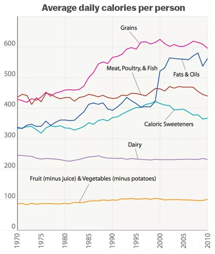 This Chart Show Average Daily Calories Per Person In USA