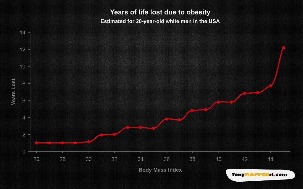 This Chart Shows Years Of Life Lost Due To Obesity In The USA