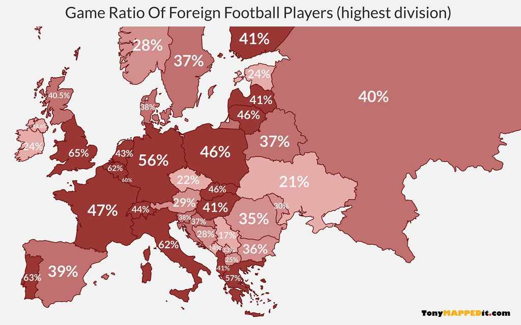 This map shows the game ratio of foreign football players in the highest european divisions
