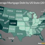 This map shows the average mortgage debt by us state in 2019