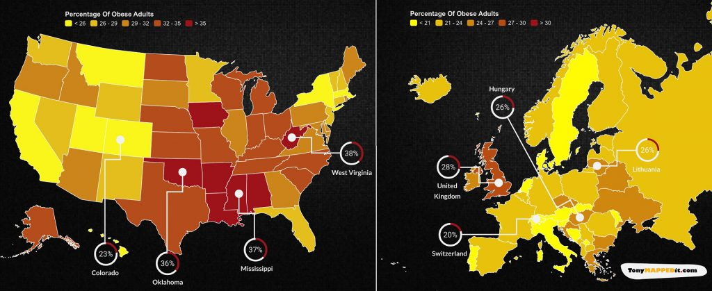 This Map Show Obesity Rates In The USA versus Europe
