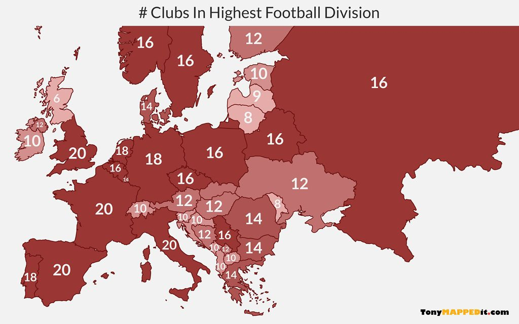 This map shows the number of clubs per country in the highest european divisions