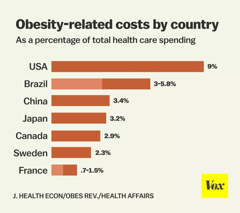 This Chart Show The Obesity related costs by country