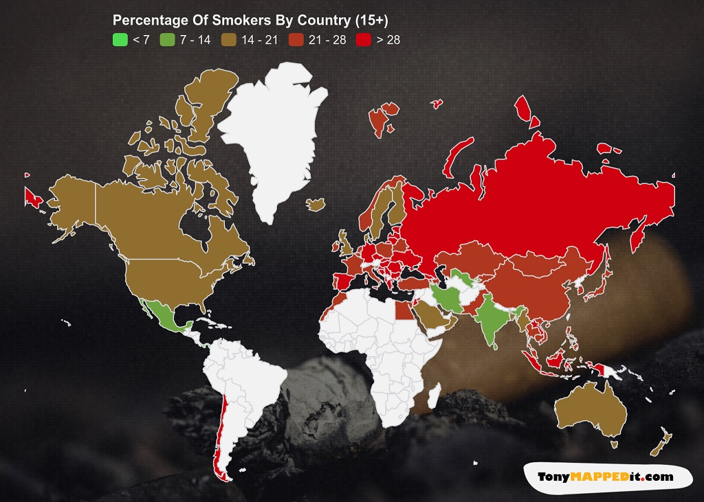 This Map Shows The Smoking Rates By Country In The World