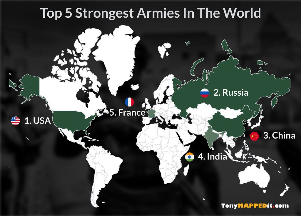 This Map Shows The Top 5 Countries By Military Strength