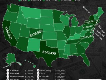 Map Of The Top 10 Highest Attorney Salaries By US State