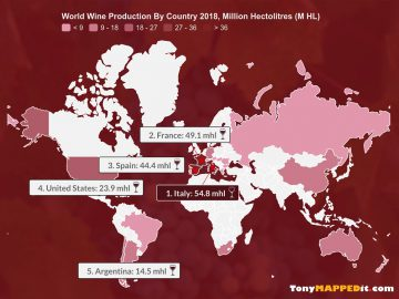 this map shows world wine production by country