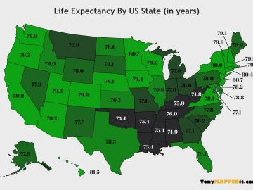 This Map Shows The Life Expectancy USA By US State
