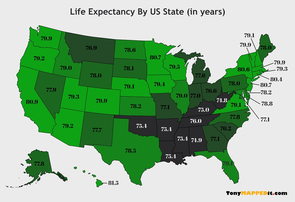 Iq By State Map Life Expectancy By US State Map   Tony Mapped It