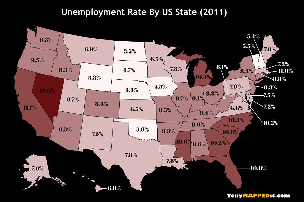 This Map Shows The Unemployment Rate By US State in 2011