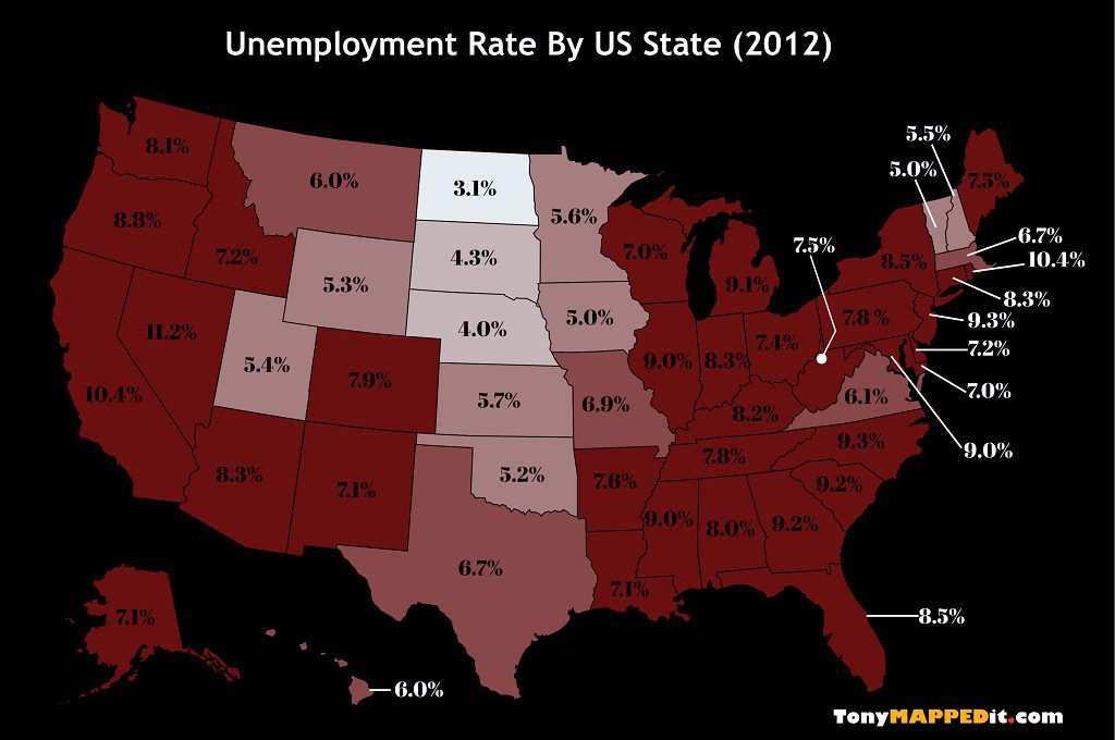 This Map Shows The Unemployment Rate By US State in 2012