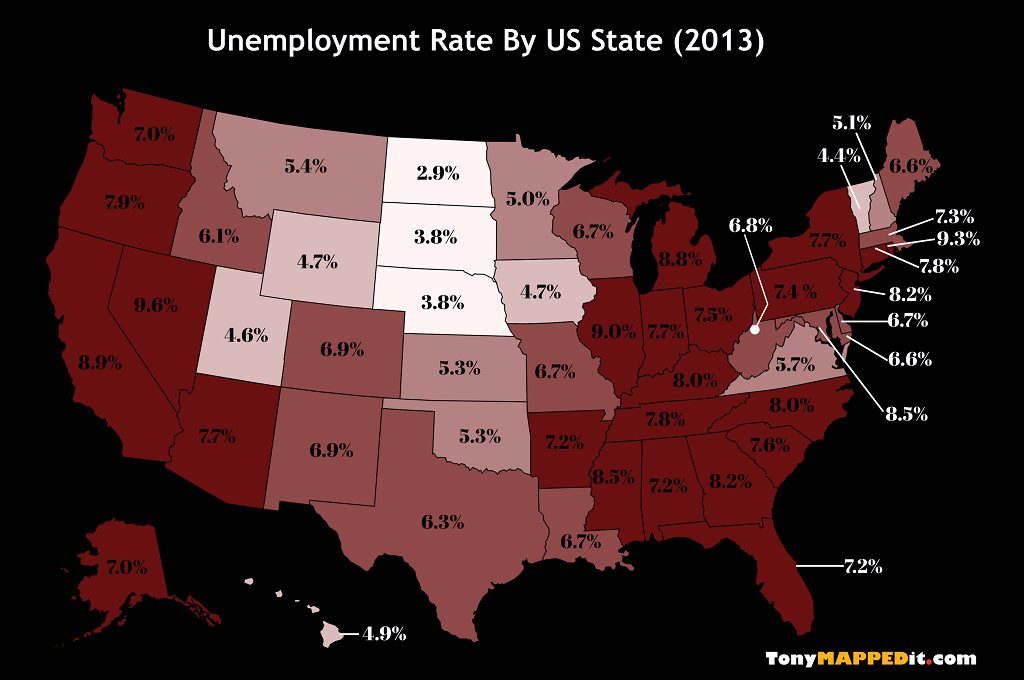 This Map Shows The Unemployment Rate By US State in 2013