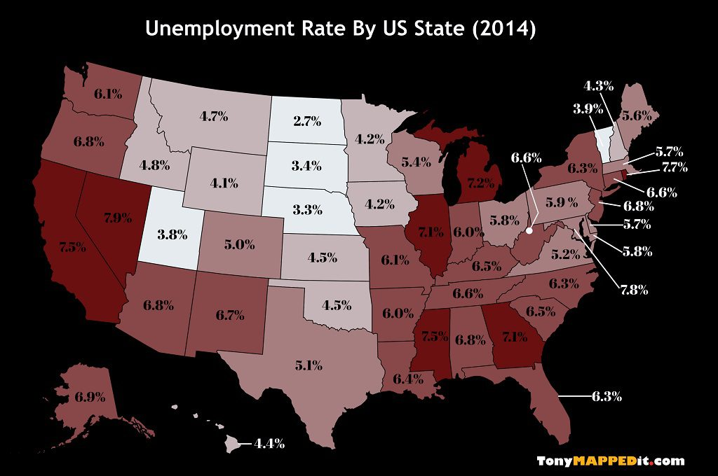 This Map Shows The Unemployment Rate By US State in 2014
