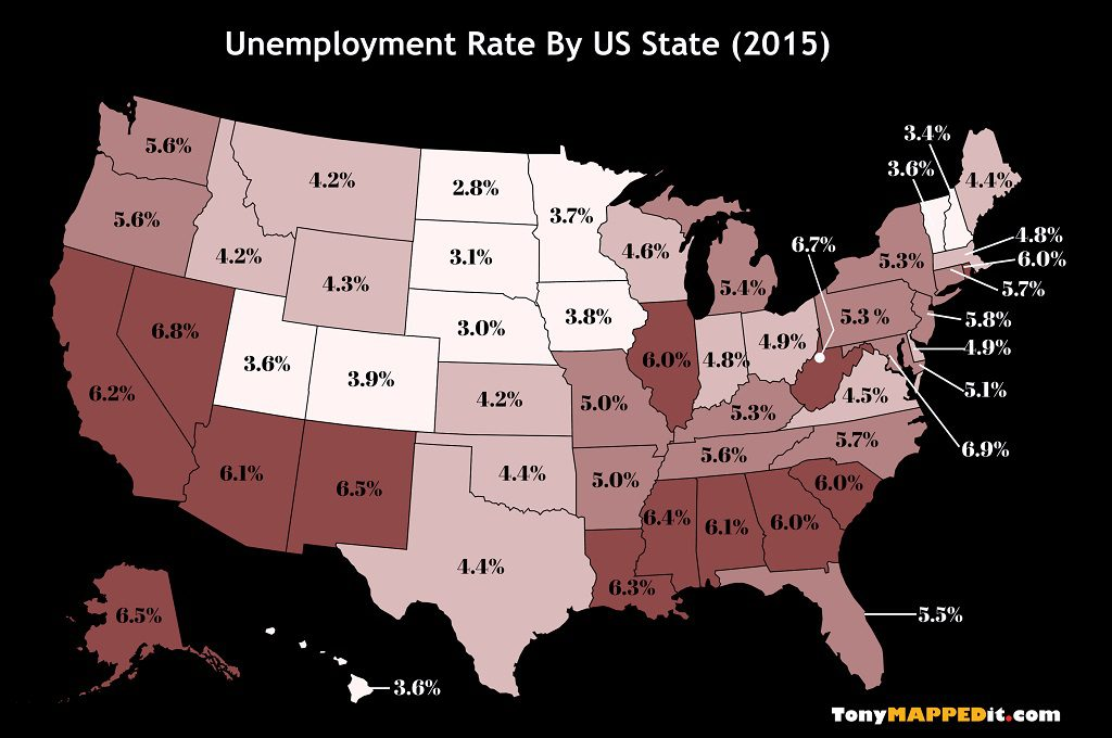 This Map Shows The Unemployment Rate By US State in 2015