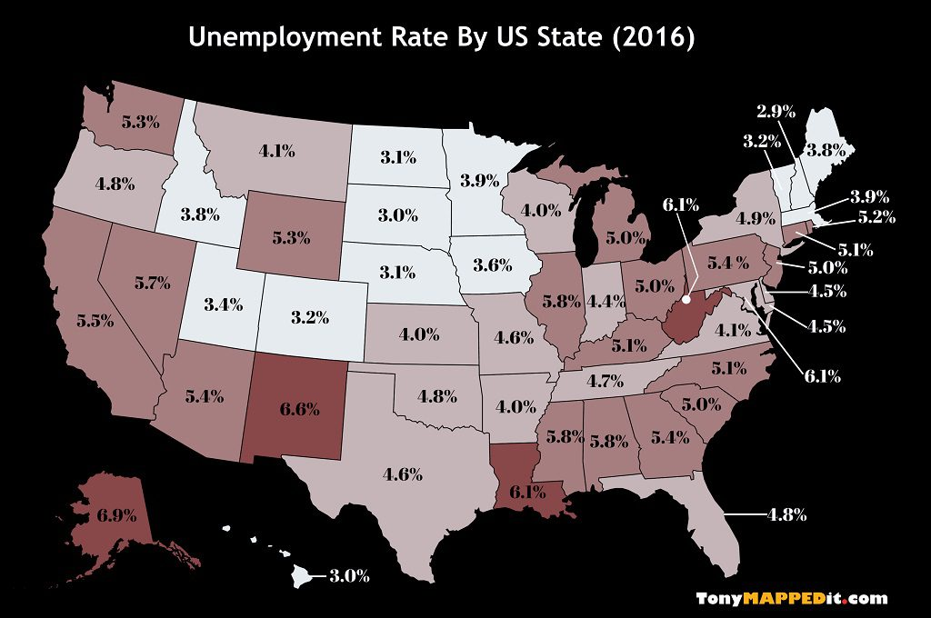 This Map Shows The Unemployment Rate By US State in 2016
