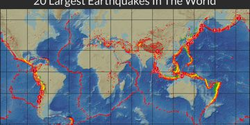 this map shows the 20 largest earthquakes in the world history