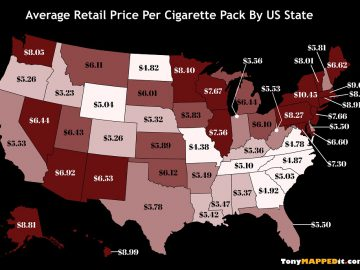 map average retail price per cigarette pack by us state