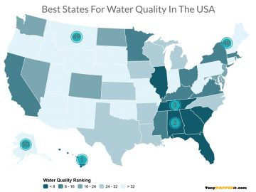 This map shows the best states water quality in the usa