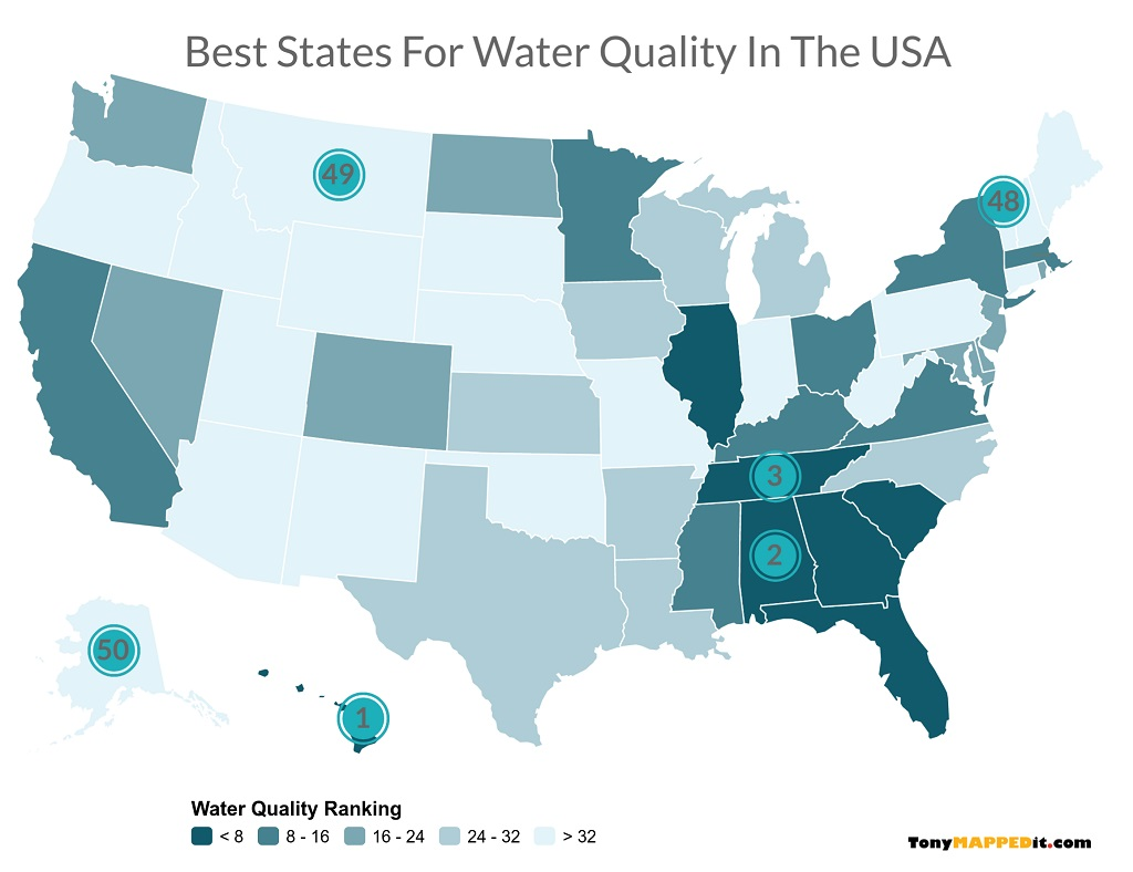 Picture of: This Map Shows The Best States For Tap Water Quality In The Usa Tony Mapped It